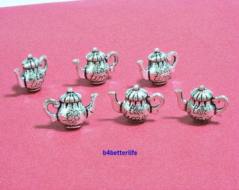 """Lot of 24pcs Antique Silver Tone """"Teapot"""" Double Sided Metal Charms. #JL3359."""