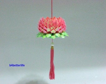 A Piece of Medium Size Pink Color Origami Hanging Lotus. (AV paper series).