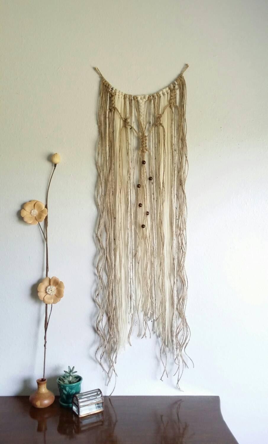 Yarn wall hanging macrame curtain fiber art by for Yarn wall hanging