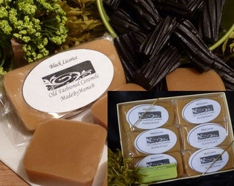 Gift Box Black Licorice caramels ~ 1 or 2 dozen soft, extra creamy, old fashioned,  homemade Anise caramels