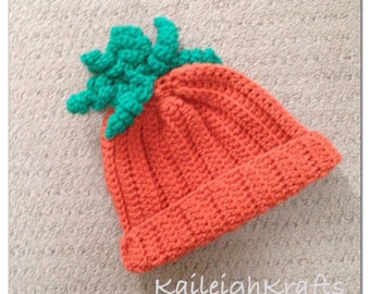 Carrot Crochet Hat/ Orange/ Photo Prop (newborn-adult: made to order)
