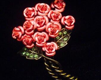 Vintage Avon Rose Bouquet Brooch