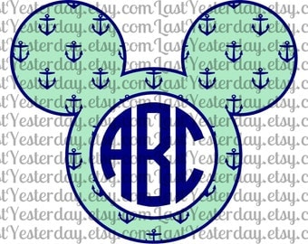 Anchors Nautical Monogram Mickey Head DIGITAL DOWNLOAD svg dxf jpg png