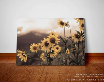 Sepia sunflower daisy yellow brown large canvas print nature mountain landscape photograph art caught it on canvas flowers rustic home decor