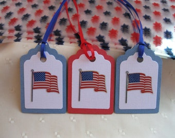 10 Star Treat Bags With Tags - Military Party Bags, 4th Of July Gift Tags,American Flag Tags, Favor Bags for Soldiers, Moving Sale 15% Off