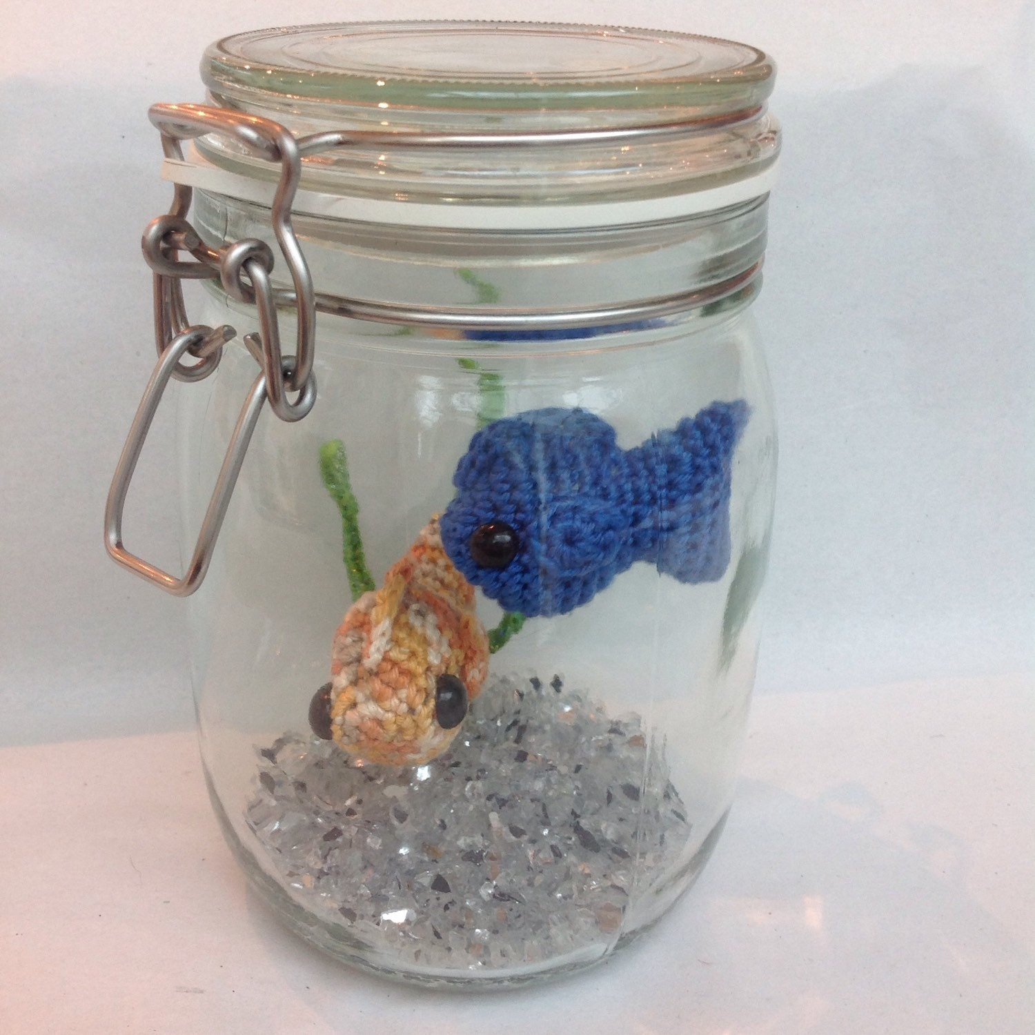 No fuss fish two crochet goldfish in a glass jar by edenreborn for Fish in a jar