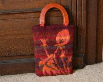 Felted hand-knit tapestry tote--copper orange mustard burgundy--wooden handles fabric lined-- zipper & plain pocket--Copper Dandelions