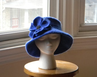 Women's felted cobalt blue hand-knit wool hat turned down brim felted  flower with faceted hematite beads