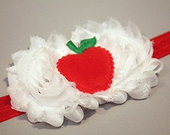 Red apple headband, newborn headband, baby photo prop, back to school hedband or clip