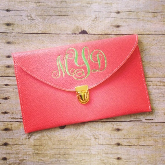 embroidered clutch monogrammed purse monogram by thegivingtreesc