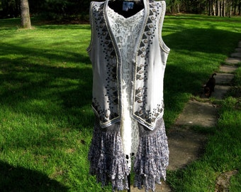 Grey Velvet Handbeaded Gypsy Bohemian Vest with Flowing Floral Skirting Upcycled Wearable Art