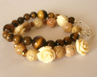 Double Bracelet, Tigers Eye, Soapstone, Bronze Crystals, Carved Flower, Small Wrist, Sterling Clasp, Brown and Beige, Neutral Colors