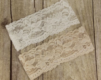 "Wedding Garter - 1 Lace Garter, 30+ Lace Colors Available, Pre-made 2 1/4"" Wedding Garter, Bridal Garter, Garter, NUDE Garter, Plain Garter."
