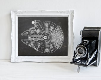 Star Wars print, Millennium Falcon, INSTANT DOWNLOAD, Han Solo, geeky nerdy print, chalkboard Star Wars wall art home decor gift