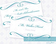 DIY Printable Wedding Escort and Place Card Template | Printable Place and Escort Card | Calligraphy in Peacock & Periwinkle