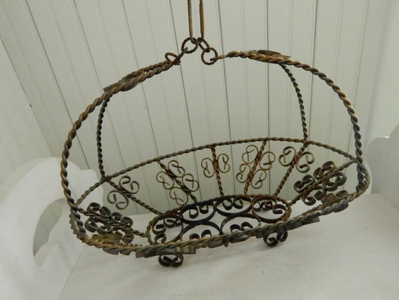 Metal Flower Hanging Baskets : Oval scroll metal hanging flower basket unusual twisted