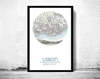 LISBON - city poster - city map poster print