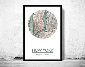 NEW YORK - city poster - city map poster print