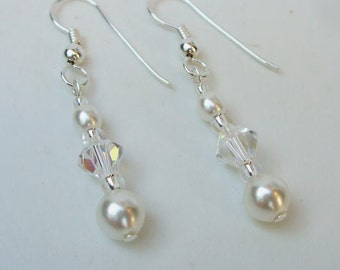 Swarovski wedding earrings Sterling Silver Crystal and pearl DROP bridal earrings SWAROVSKI wedding jewelry bridal jewellery bridesmaid GIFT