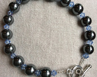 Hematite and Swarovski Crystal Bracelet