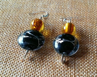 lyric: dangle earrings featuring lampwork glass beads