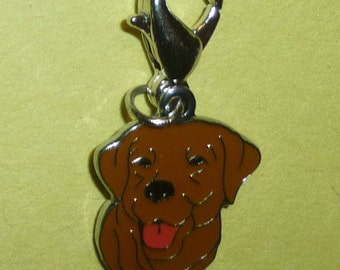 Precious Enamel Chocolate Lab Dangle for Bracelets, Floating Charm Necklaces, Zipper Pulls, Keychains etc.