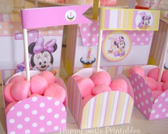 Minnie Mouse 1st Party Printables - Minnie Mouse 1st birthday decoration- Minnie Mouse 1st birthday candy box and more -  Instant Download