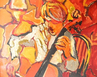 Cello Player oil painting brutalist style unsigned vintage with new framed