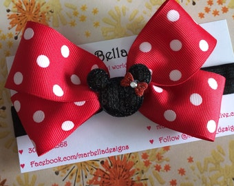 Minnie Mouse Boutique Bow Red Pink Headband or Clip