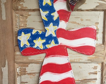 Patriotic Independence Day Fourth of July Cross Door Hanger