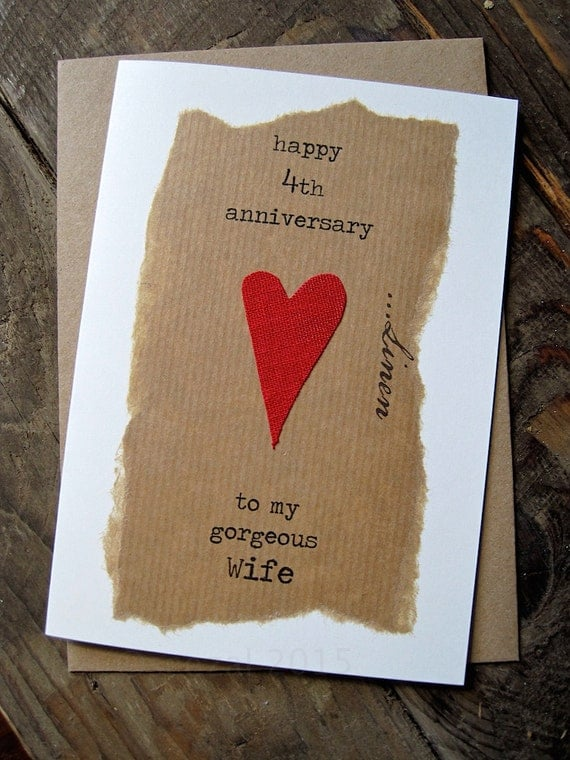 Wedding Gifts For 4th Anniversary : 4th Wedding Anniversary Card LINEN Traditional Gift Handmade Keepsake ...