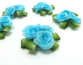 3 Pieces Flower Applique with Leaf Loop Delicate Embellishment Rosette Rose Flower Baby Doll Quilting Flower Boutique Decorative Flower