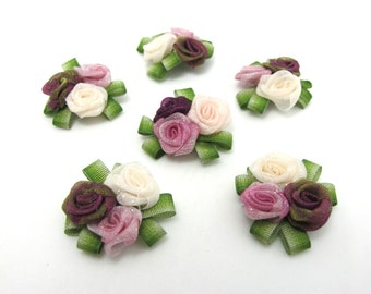 3 Pieces Flower Applique with Leaf Loop|Delicate Embellishment|Rosette Rose Flower|Baby Doll Quilting|Flower Boutique|Decorative Flower