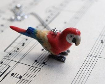 Parrot pendant necklace, Macaw parrot porcelain necklace. Bird lover gift
