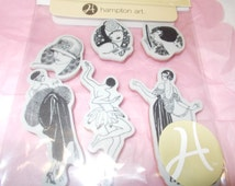 Graphic 45 Ladies rubber stamp set hampton art stamps unmounted cling back Couture women in fancy dress stamping scrapbooking atc art
