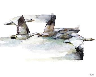 """Geese Flying Painting - Print from Original Watercolor Painting, """"Heading South"""", Bird in Flight, Flock, Wild Geese"""