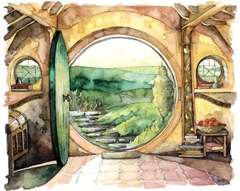 "LARGE Bag End Prints - Sizes 16x20 and up, ""In a Hole in the Ground"", Lord of the Rings, The Hobbit, The Shire, Watercolor Painting"
