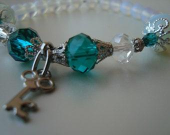 Stretch Charm Bracelet, Opalite gemstone, key, adjustable bracelet, unique gift for mother mom sister aunt grandmother woman girlfriend