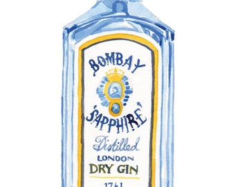 Watercolour Bombay Sapphire Gin Blank Greeting Card