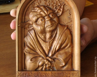 Star Wars Master Yoda  wood carving gift