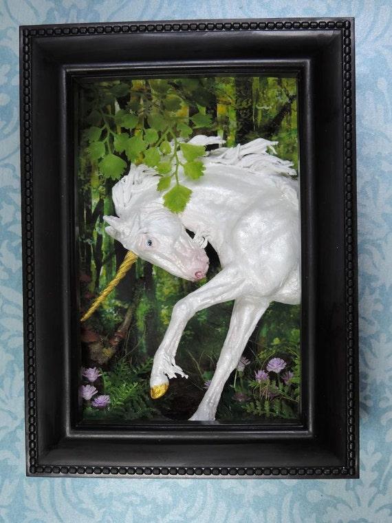 Unicorn Shadow Box Sculpture White Horse Forest Woodland
