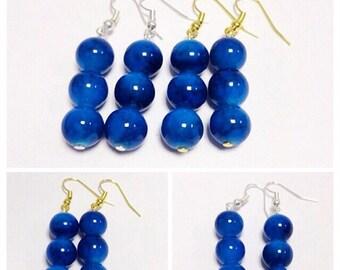Dark Blue Dangle Earrings | Dark Blue Glass Beads | By Lilly Rose