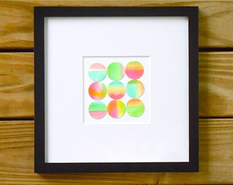 Original Watercolor Collage - Abstract Geometric Painting - Modern Watercolor Mosaic - Gallery Wall Art - Colorful Wall Decor
