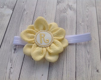 Personalized baby headband Yellow Flower - Girl