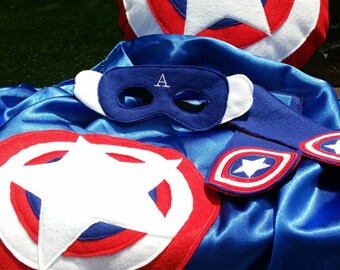 Captain America Set- cape, mask, armbands and shield
