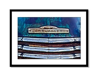 Vintage Car Photography, Old Chevrolet Truck, Rusty Chrome Instant Download, Printable Art, Gift for Dad