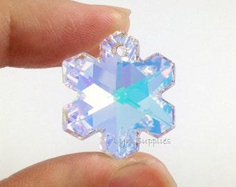 6704 CRYSTAL AB 25mm 2 pieces Swarovski Crystal Snowflake Frozen Pendant