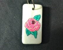 Domino, Hand Painted Domino, Pink Rose, Rose Pink, Charm