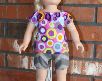 """Multicolor Spot Top and Grey Chevron Short Set for 18"""" doll like American Girl"""