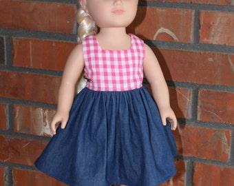 """Denim and Pink Gingham Doll Dress for 18"""" doll like American Girl"""